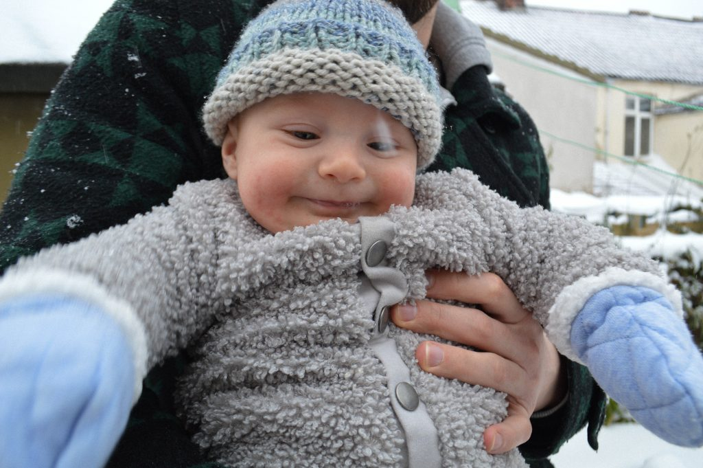 Baby photography in the snow 3 months old