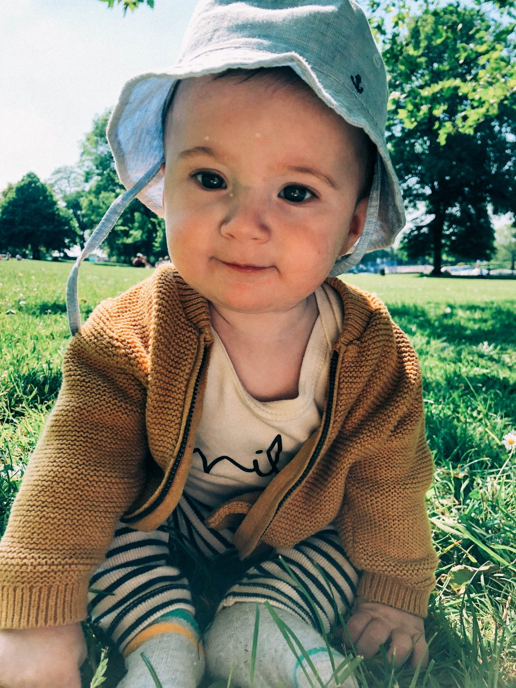 baby in the park at 4 months